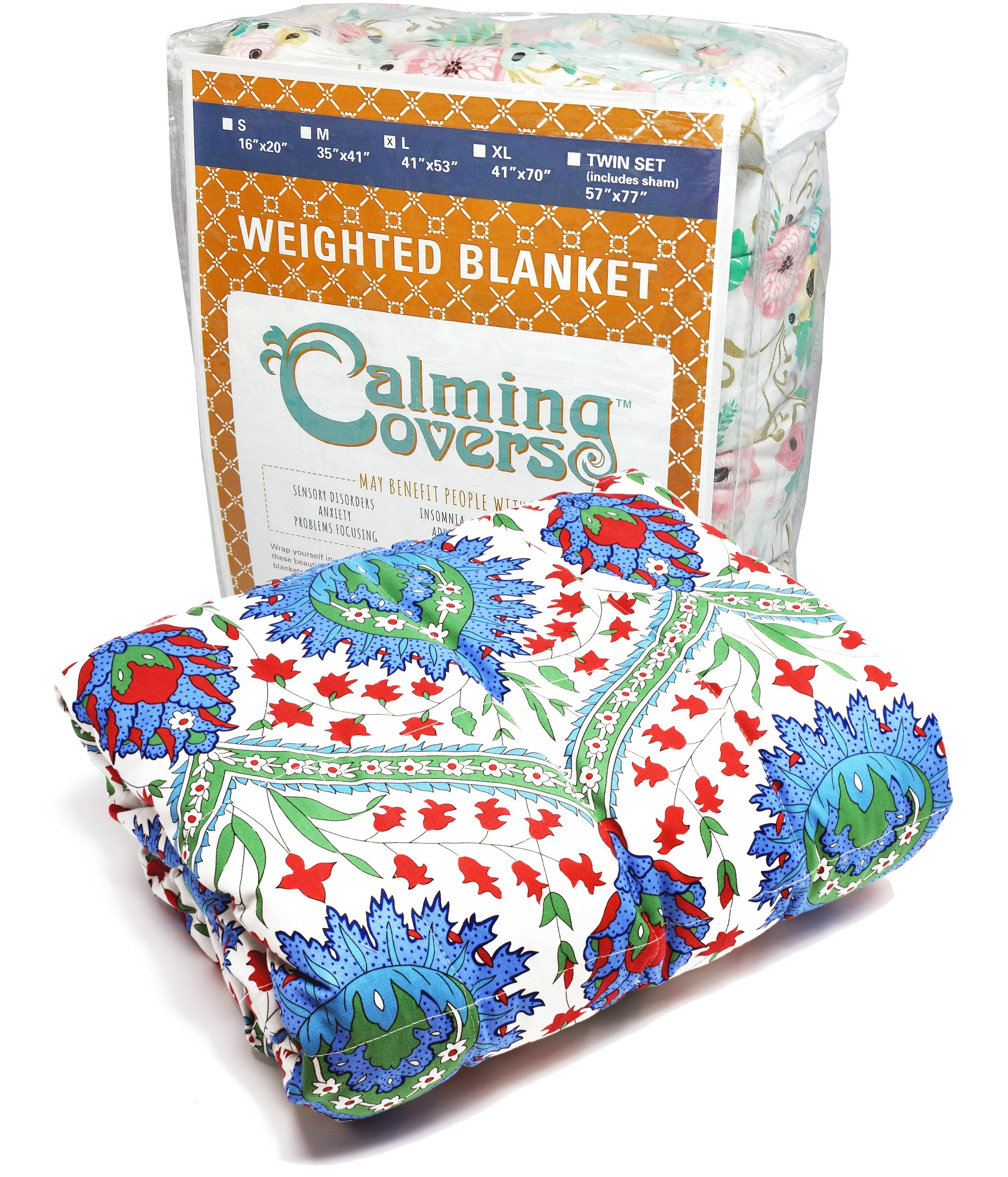 Designer Weighted Blanket for kids (or adult) | Dozens of cute styles in many sizes | Gravity blankets may help relieve anxiety, stress & insomnia | Style - Blue Paisley | Cotton - 3 lbs