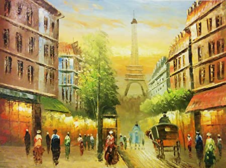 Paris Eifel Tower Black & White with Red Tree Street View Oil ...