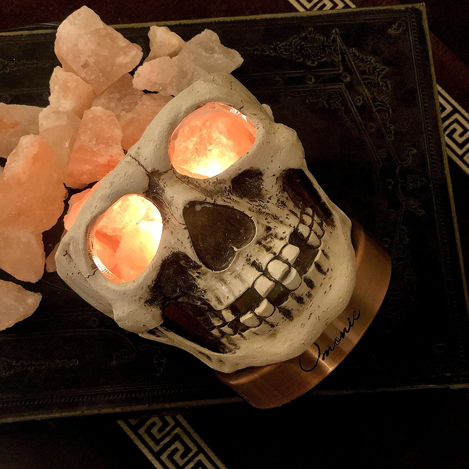 Skull Carved Statue Himalayan Salt Lamp Lights 3D White Gray w// Dimmer Switch
