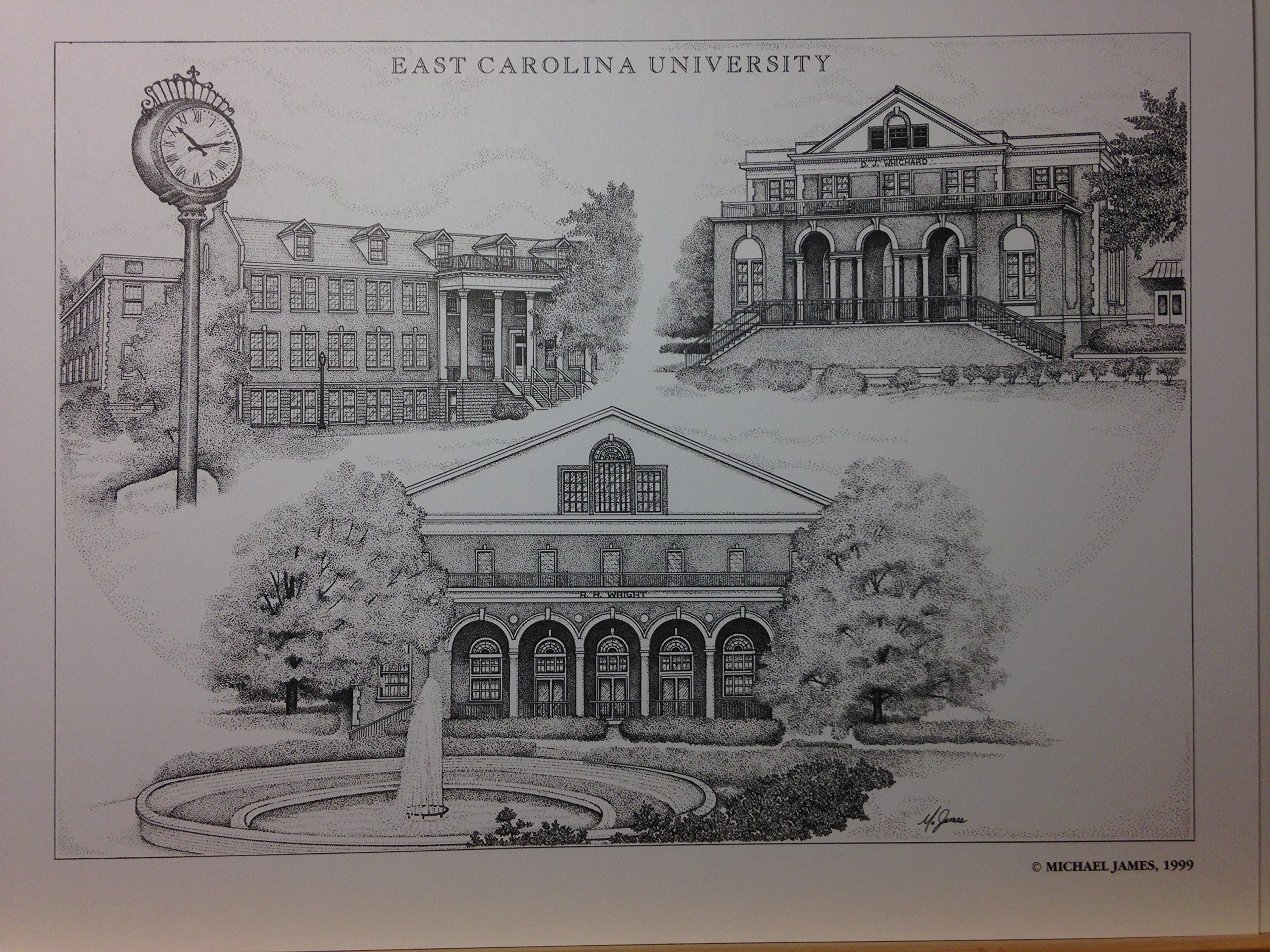 East Carolina 8x10 pen and ink collage print