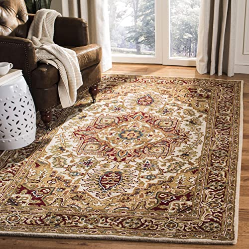 Safavieh Classic Collection CL763A Handmade Traditional Wool Area Rug, 9 6 x 13 6 , Light Gold Red