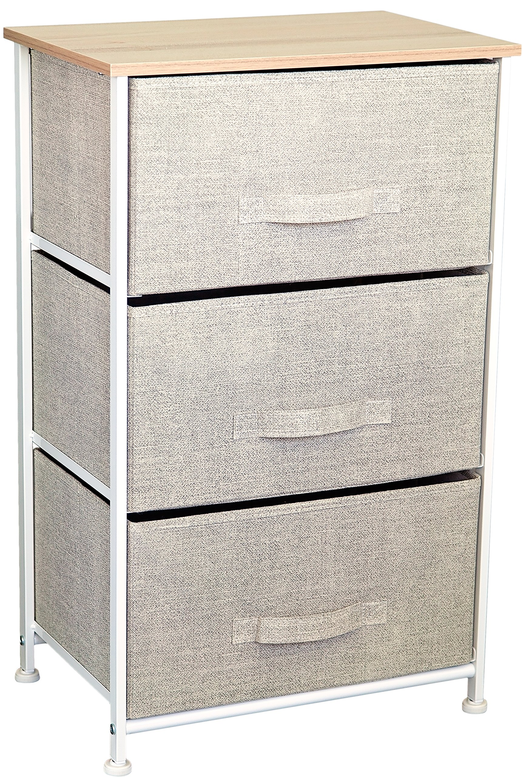 East Loft Nightstand Dresser |Storage Organizer for Closet, Nursery, Bathroom, Laundry or Bedroom | 3 Fabric Drawers, Solid Wood Top, Durable Steel Frame| Natural by East Loft