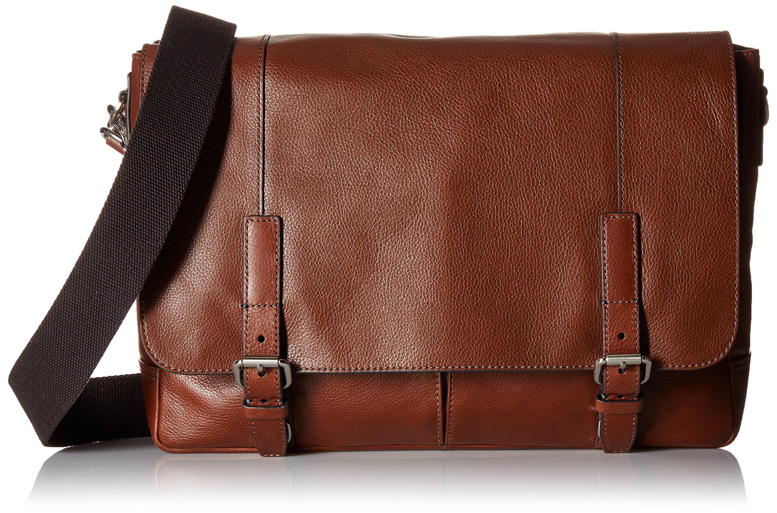 Fossil Graham East West Leather Cognac Messenger Bag, Cognac