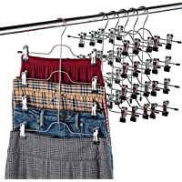 ZOBER Premium Non Slip Hangers - Multi Trouser Hanger with Adjustable Clips, Space Saving 4-on-1 GAIN 80% More Space, Skirt Hangers, Durable Metal Clothes Hanger- Slack, Jean, Towels (Set of 6)