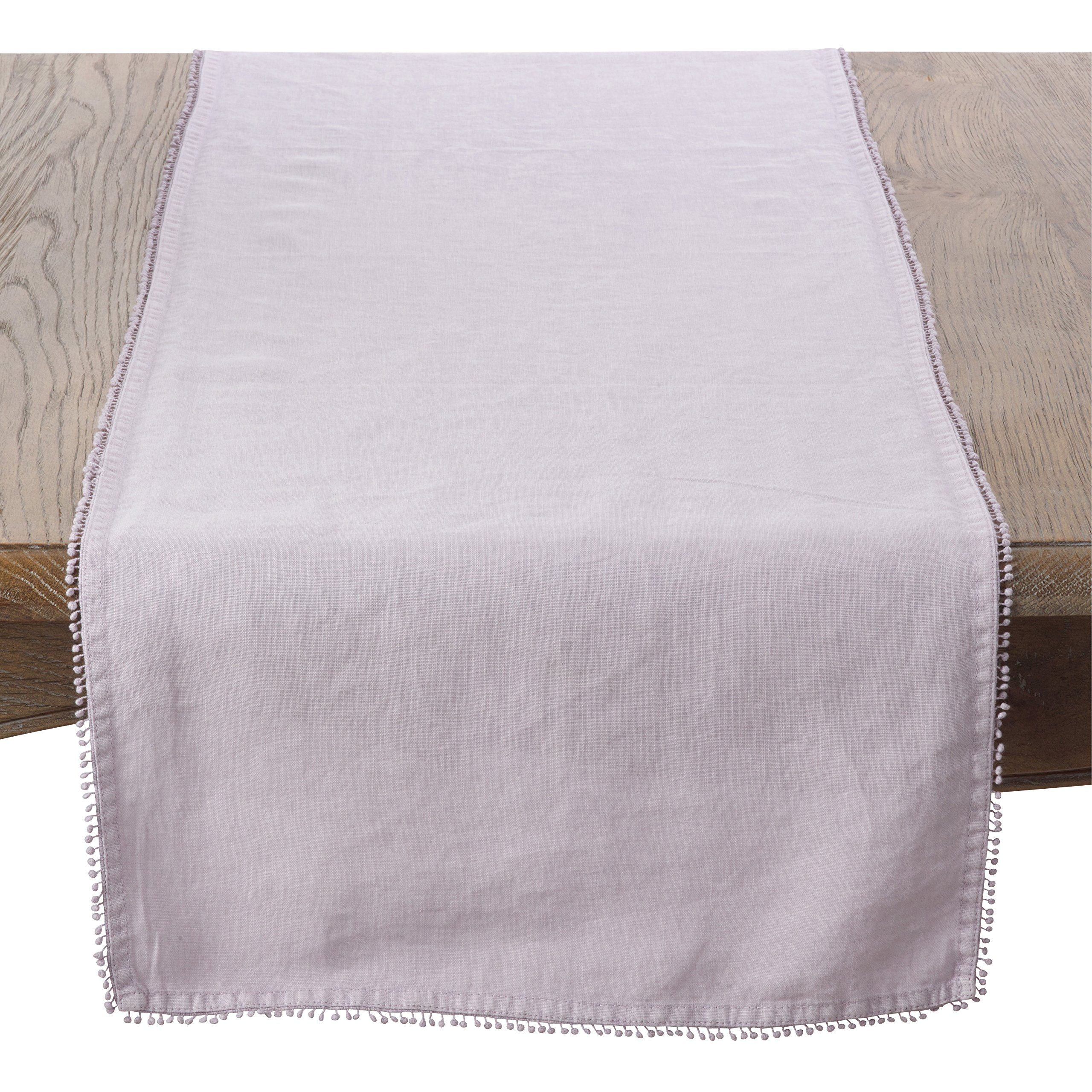SARO LIFESTYLE Pomponin Collection 100% Linen Table Runner with Pompom Edges, 16'' x 72'', Lavender