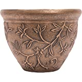 Vine Pattern Greek Style Rustic Look Plastic Planter 10X8 Flowerpot for Indoor, Outdoor, Garden, Patio, Office Ornaments, Home Decor, Long Lasting Reusable, Light Weight, Water Resistant (Gold)