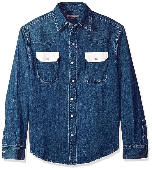a0e603e575 Calvin Klein Men s Blue Western Denim Shirt Contrast Pockets  Amazon.in   Clothing   Accessories
