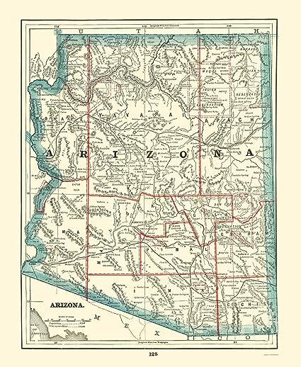 Map Of Old Arizona.Amazon Com Old State Map Arizona Rathbun 1893 23 X 28 04