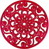 Decorative Cast Iron Metal Trivet by Trademark Innovations (Red)