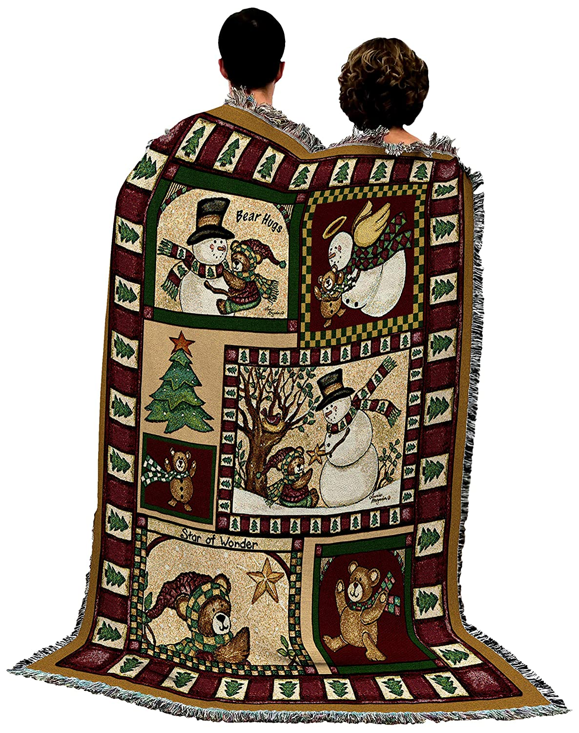 Pure Country Weavers Town Christmas Woven Tapestry Throw Blanket with Fringe Cotton USA 72x54