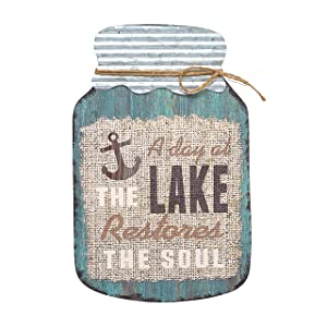 "Barnyard Designs A Day at The Lake Restores The Soul Mason Jar Decorative Wood and Metal Wall Sign Vintage Lake House Decor 14""x 9"""