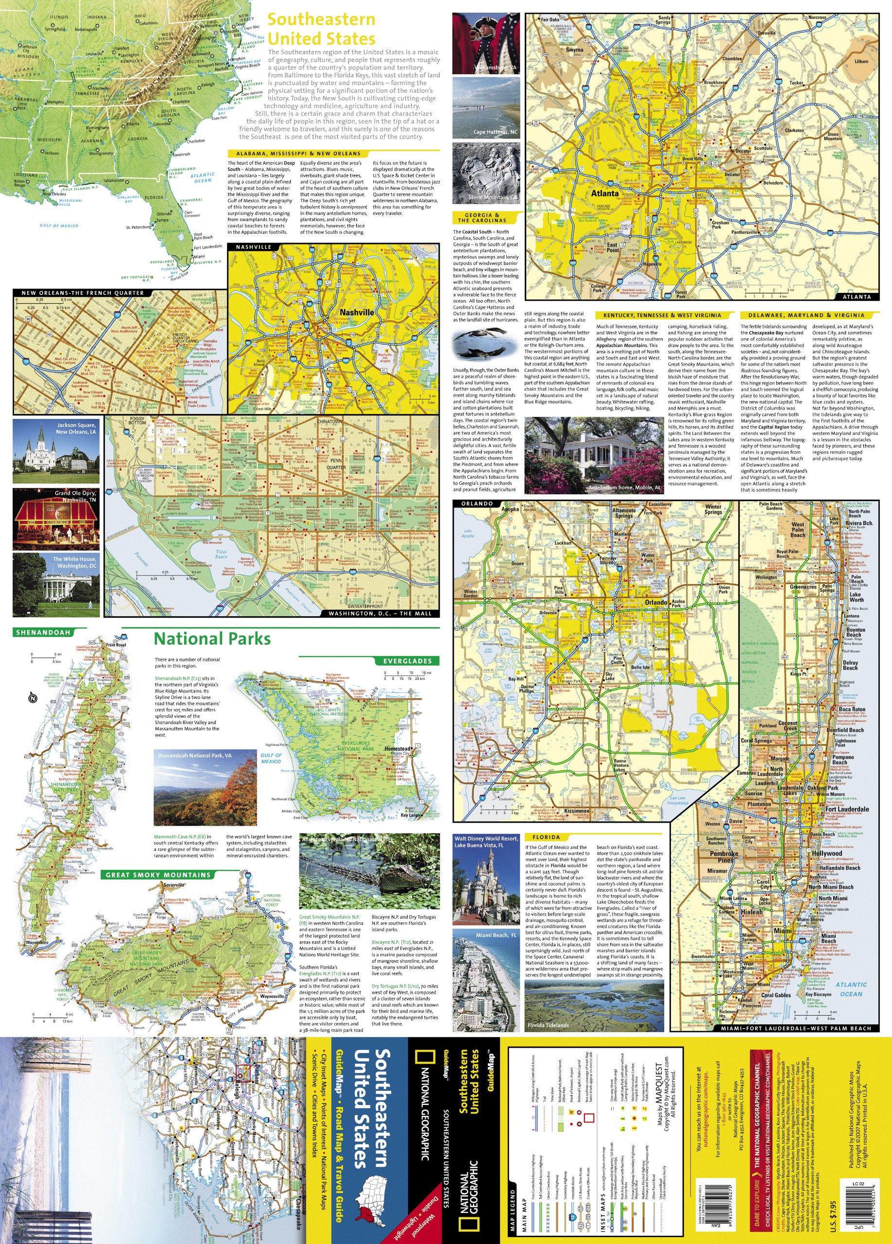 Southeastern USA National Geographic Guide Map National - Map highlighted southeast us