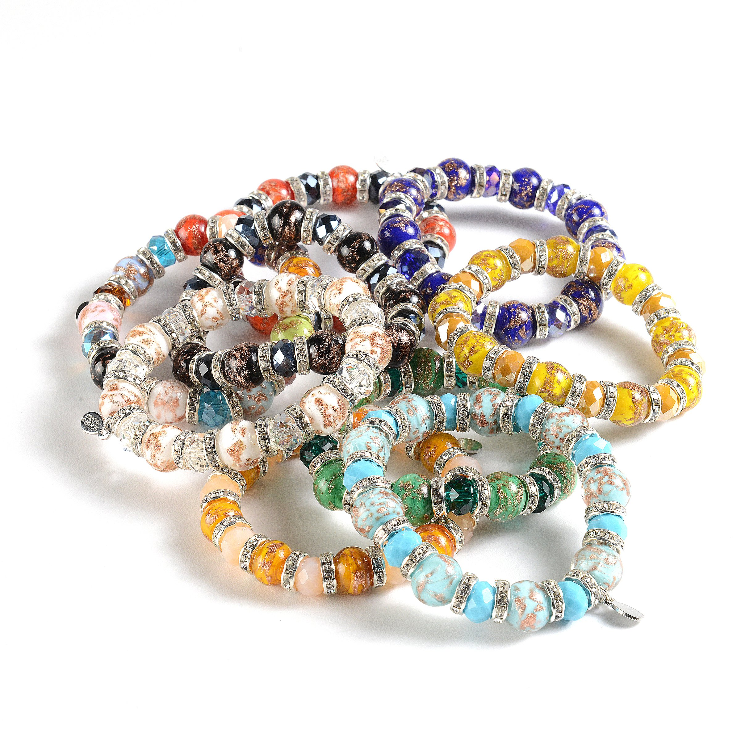 Murano Glass Bracelet, Handmade Vibrant Murano Glass Beads, Elastic Stretch Bracelet, Each Murano Charm Bead is Unique, Colorful, and Exquisite – Murano Glass Jewelry for Women Necklace, Imported by EMBRACE LA GRANDE VITA (Image #2)