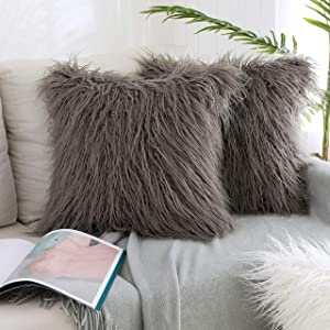 Kevin Textile Pack of 2, Decor Home Deluxe Soft Plush Merino Style Grey Faux Fur Throw Pillow Cover Cushion Case for Bedroom Sofa Chair 18 x 18 Inch 45 x 45 cm