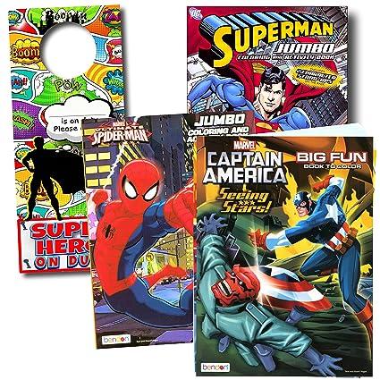Amazon.com: Bendon Intl Classic Superheroes Coloring Books Bundle ...