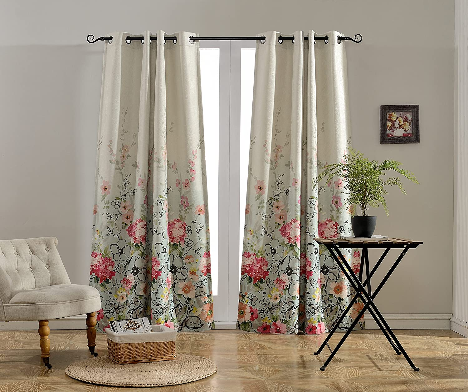 MYSKY HOME Floral Design Print Grommet top Thermal Insulated Faux Linen Room Darkening Curtains Red and Pink