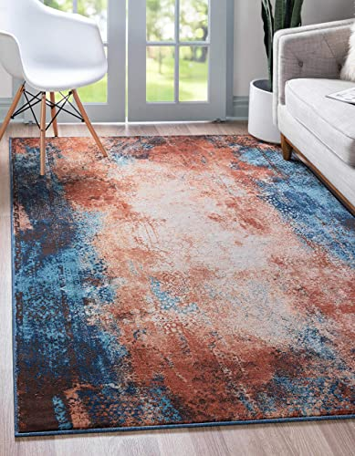 Unique Loom Mystic Collection Over-Dyed Abstract Vintage Dark Colors Brick Red Area Rug 9 0 x 12 0
