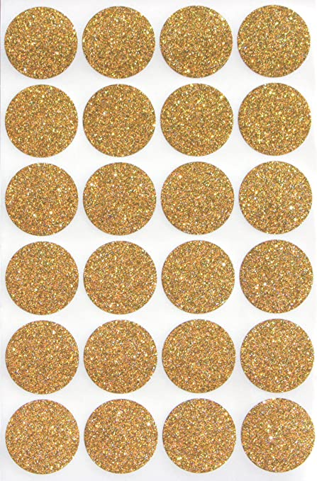 Gold glitter circles 1 round 25 mm dot sparkly stickers one inch rounds