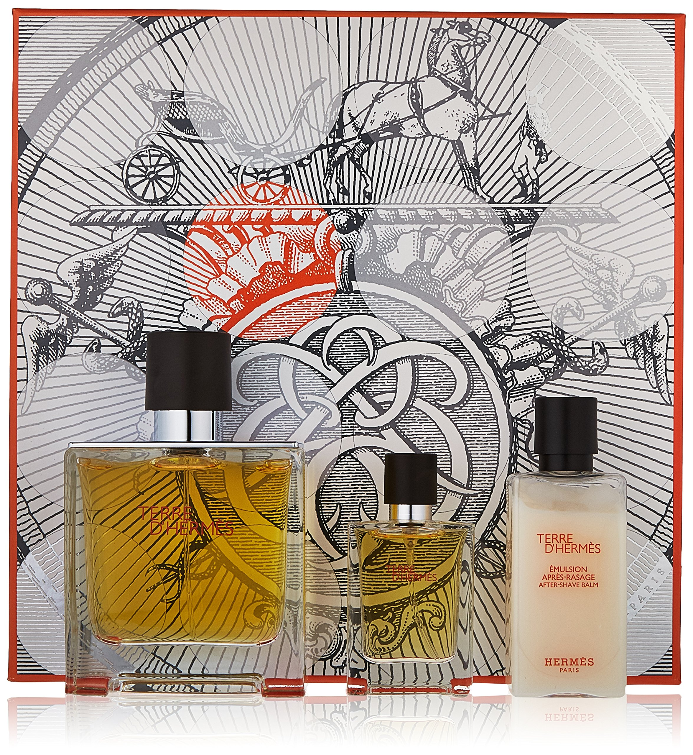 Terre D'Hermes by Hermes for Men 3 Piece Set Includes: 2.5 oz Pure Parfum Spray + 0.42 oz Pure Parfum Spray + 1.35 oz Aftershave Balm by Hermes