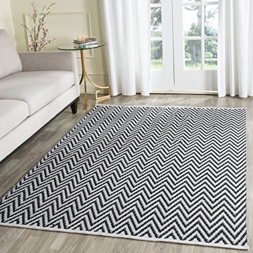 Safavieh Montauk Collection MTK812D Handmade Flatweave Black and Ivory Cotton Area Rug 4 x 6