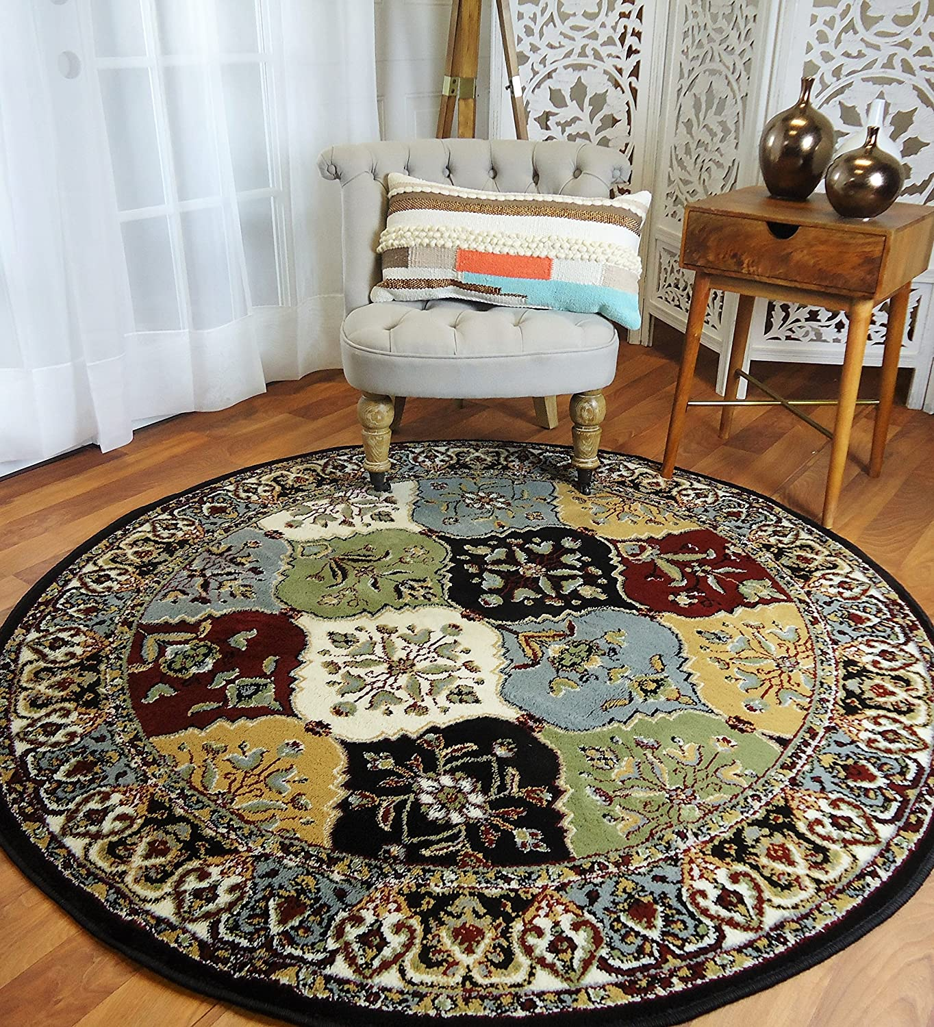 Amazon Com Round Rugs 6ft Multi Color Rug Circle Rugs For Living Room And Dining Room Rugs 5x5 Ft Home Kitchen