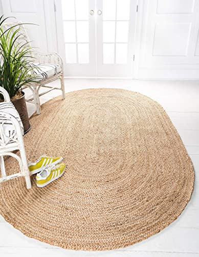 Unique Loom Braided Jute Collection Hand Woven Natural Fibers Natural Tan Oval Rug 5 0 x 8 0