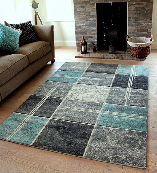 Small Large Duck Egg Blue Silver Grey White Cream Modern Soft Thick Squares Blocks Design Carved Rugs Long Hall Runner Mats 6 120x170cm Amazon Co Uk Kitchen Home