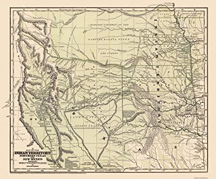 Amazon.com: Old State Map - Indian Territory, Texas, New Mexico ...