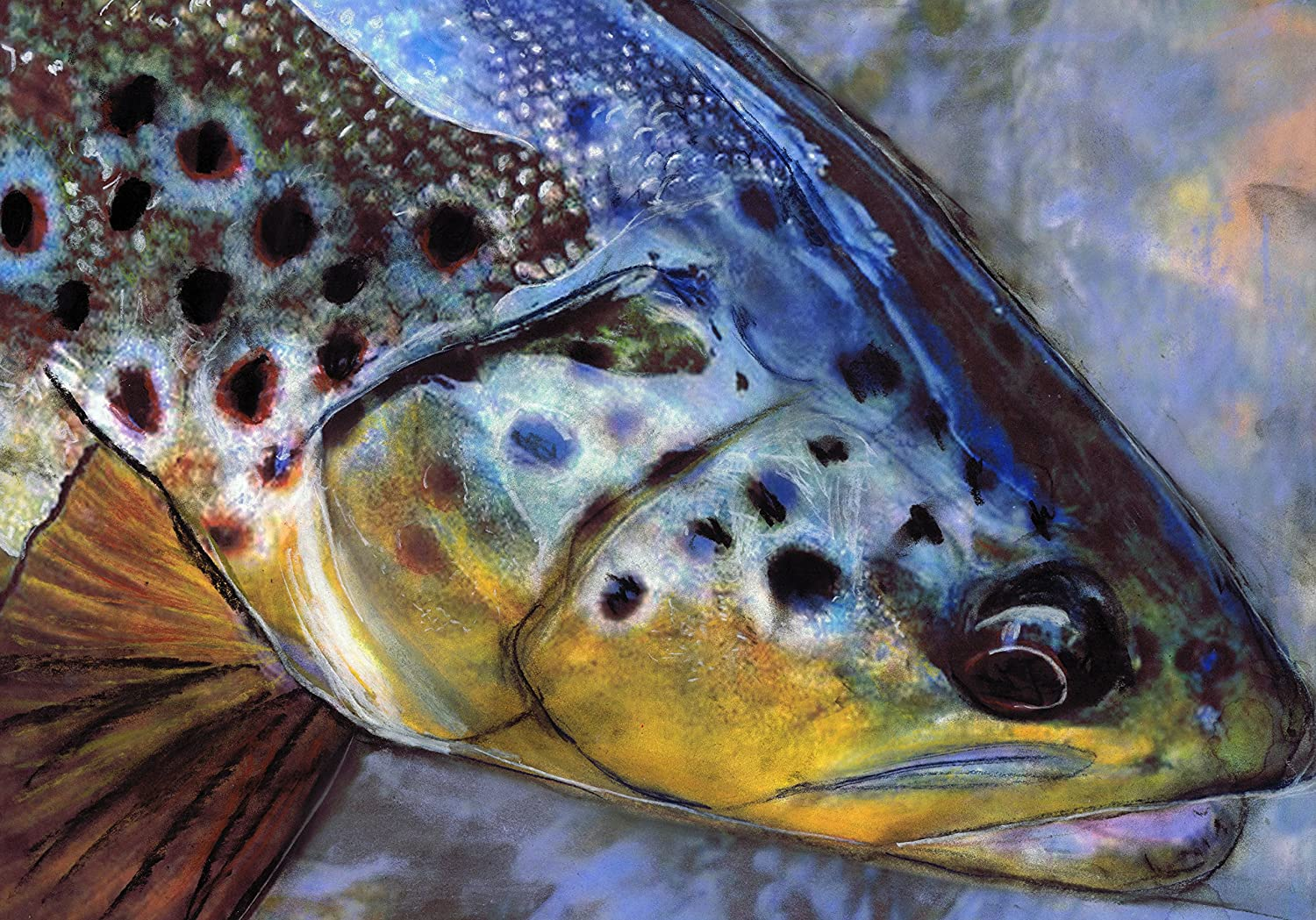 Art print POSTER// CANVAS  Brown Trout and Fishing Rod