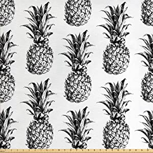Ambesonne Pineapple Fabric by The Yard, Hand Drawn Tropical Theme Vintage Style Pineapple Fruit Pattern, Decorative Fabric for Upholstery and Home Accents, 1 Yard, Black Grey
