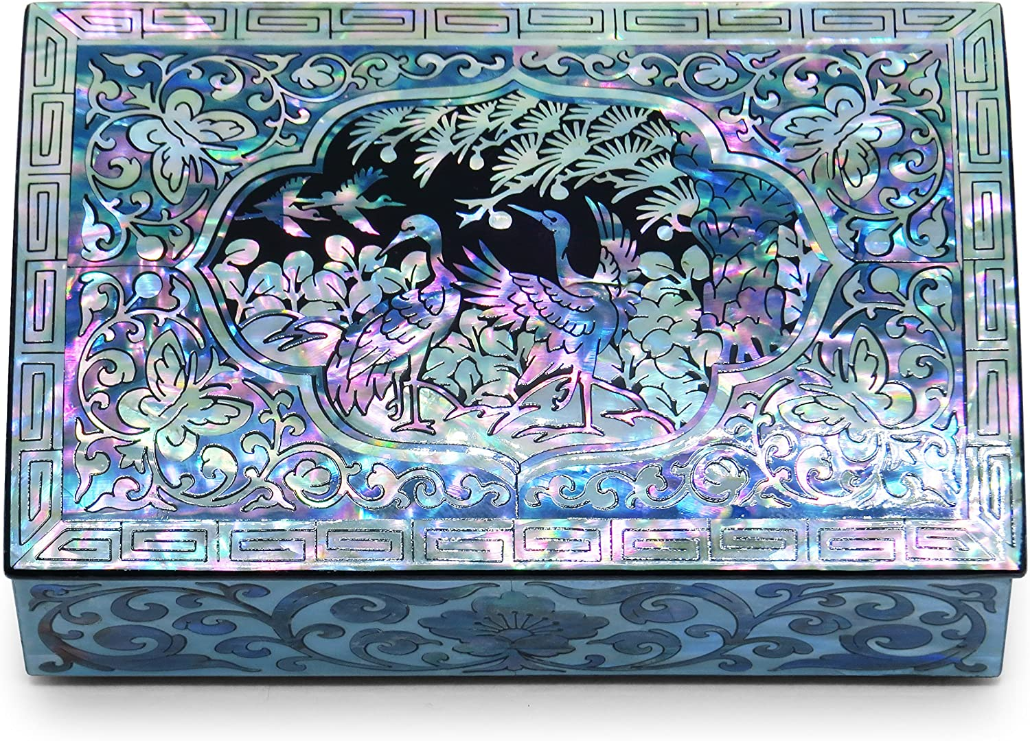 MADDesign Mother of Pearl Jewelry Trinket Box Sea Shell Cranes Small