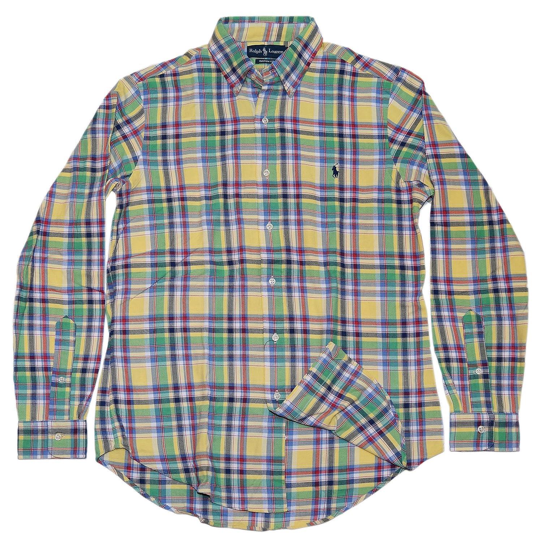 b58a23c9 Polo Ralph Lauren Mens Custom Fit Plaid Dress Shirt Green Yellow Red ...