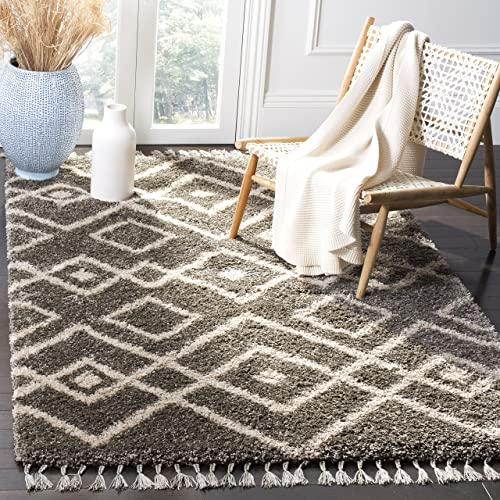 Safavieh Moroccan Fringe Shag Collection MFG249A Grey and Cream Area Rug 8' x 10'