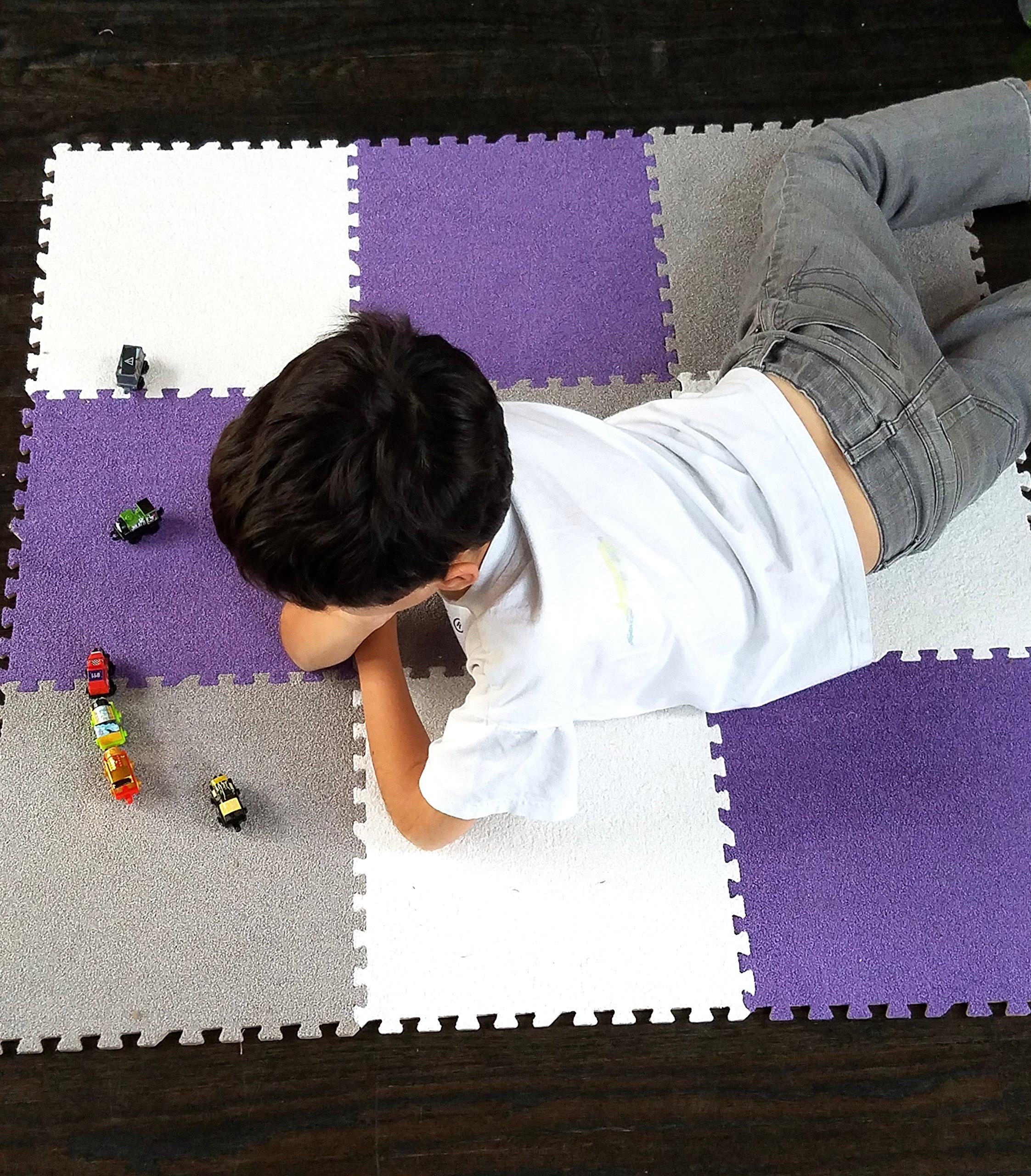 Interlocking Foam EVA Mat Carpet Flooring by Homeneeds (9 Piece, Purple, White and Grey Carpet)