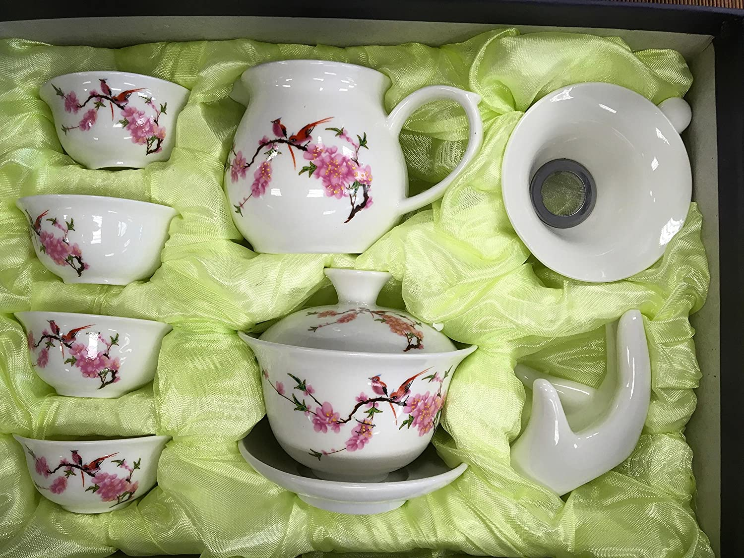 Music City Tea Gaiwan Tea Set Beautiful Set with Happy Bird And Cherry Blooming with Gift Box COMINHKPR63233