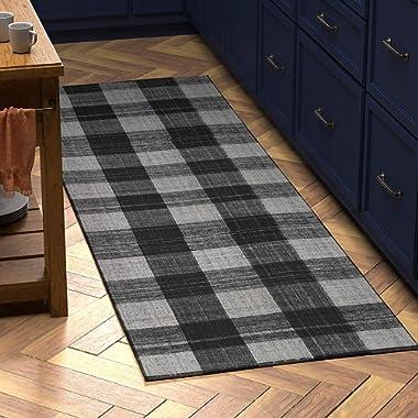 Stone & Beam Casual Plaid Runner Rug, 2' 6  x 8', Flatweave, Black, Grey, White