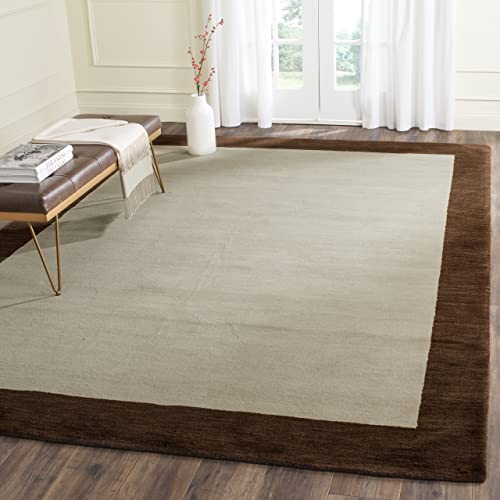 Safavieh Himalaya Collection HIM585A Handmade Beige and Dark Brown Premium Wool Area Rug 4 x 6