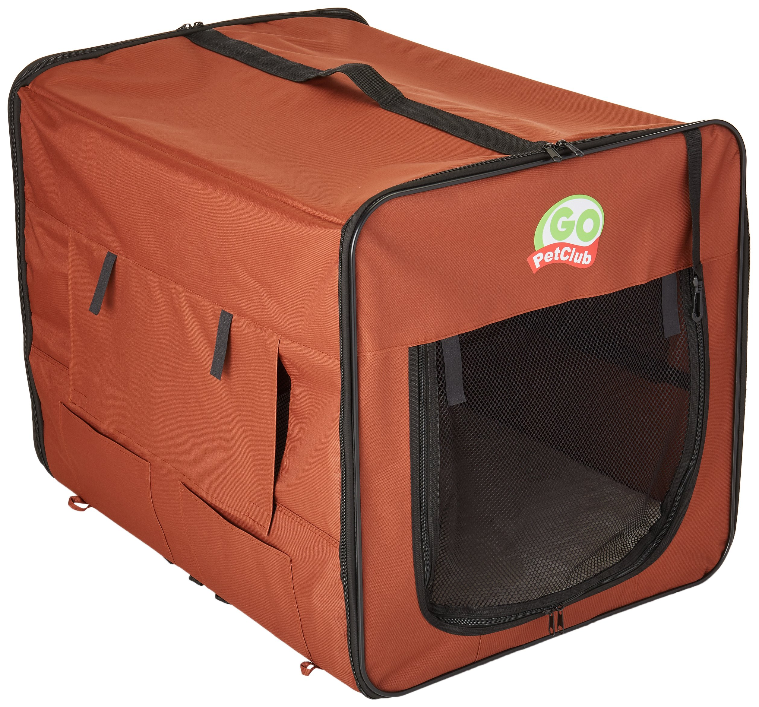 Go Pet Club AB32 Soft Dog Crate, Brown - 32 inches L x 22.2 inches W x 23.5 inches H by Go Pet Club