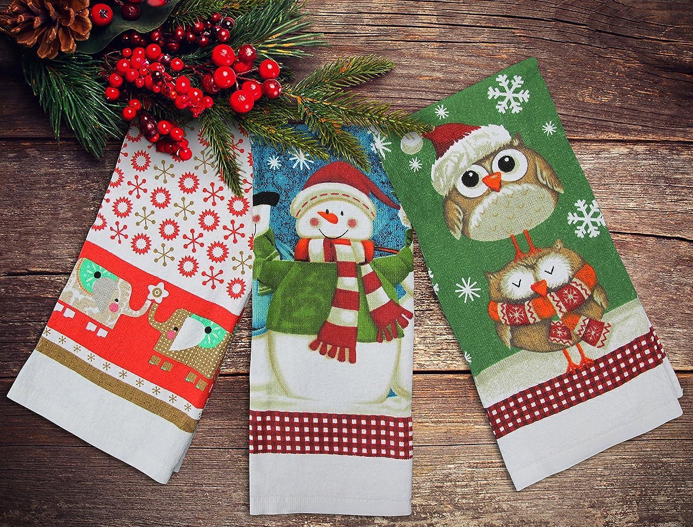 Festive Set of 3 New Xmas Tea Towel Christmas Kitchen Towels Snowman