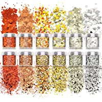Allstarry 12 Boxes Nail Glitter Autumn Chunky Nail Sequins Orange Copper Nail Flakes Decals for Makeup DIY Nail Art…
