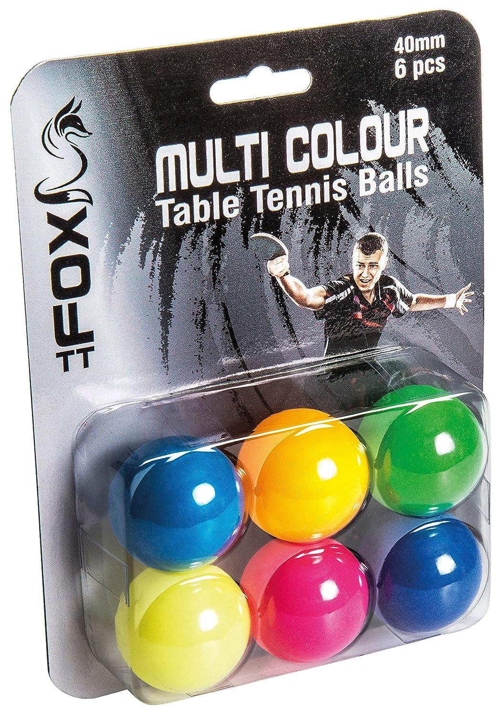 Fox TT Coloured Table Tennis Balls (Pack of 6) - Multi-Colour Reydon Sports FTT105