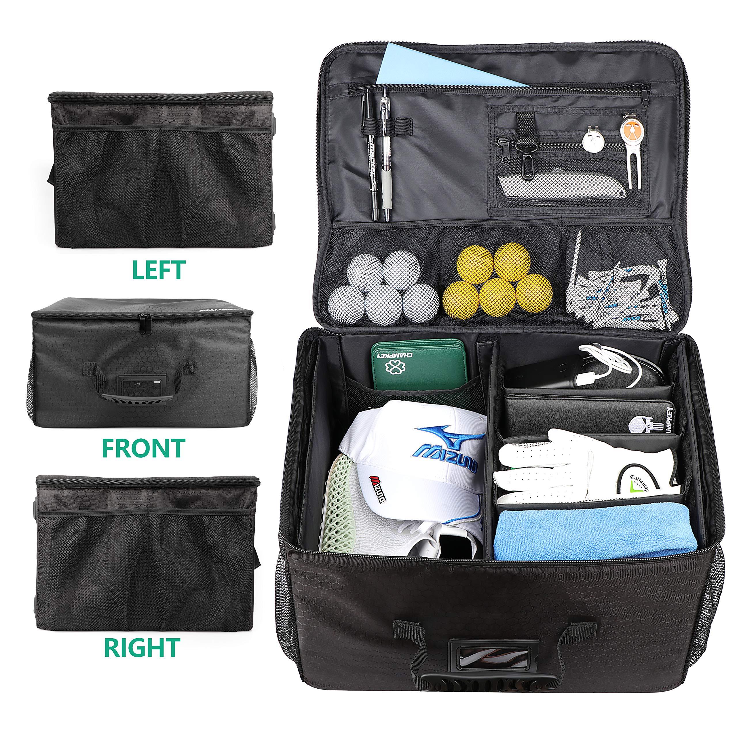 Champkey Golf Trunk Organizer Storage-Portable and Foldable Golf Travel Storage Locker Ideal for Travel Golf and Car Golf (Black) by Champkey