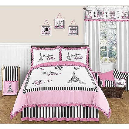 Amazon.com: 4 Piece Kids Bonjour Paris Themed Comforter Set ...