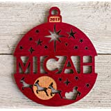 Personalized Christmas Ornament 2017 Solid Wood Santa's Reindeer Design. On Sale Now. Buy Early and Save!