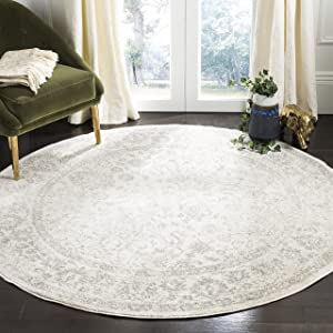 Safavieh Adirondack Collection ADR109C Ivory/Silver Vintage Oriental Distressed Area Rug 3' Round