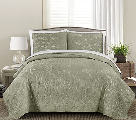 Ordinaire Blissful Living Luxury Embroidered Quilt Set Including Shams   Cotton Fill    Lightweight And Soft For