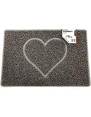 Nicoman HEART Embossed Shape Door Mat Dirt-Trapper Washable Barrier Doormat【Use Indoor or Sheltered Outdoor 】(75x44cm/29.5x17.3inches,Medium) GREY