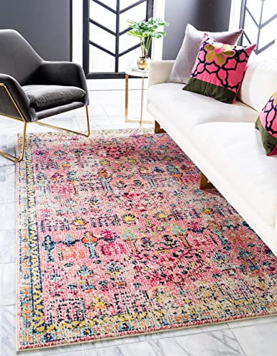 Unique Loom Monterey Collection Vintage Bohemian Tribal Distressed Pink Area Rug 9' 0 x 12' 0