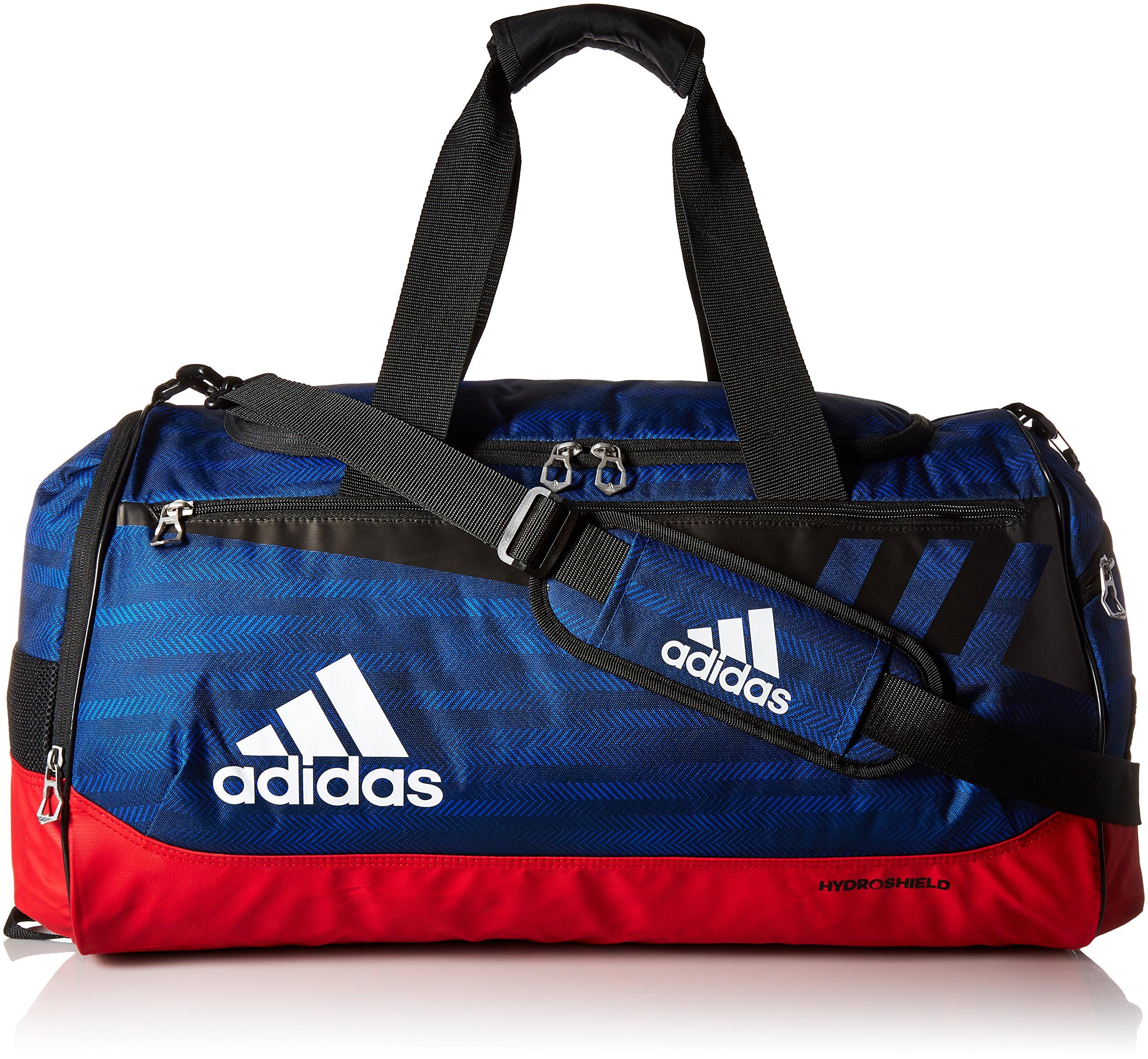 adidas Team Issue Duffel, Medium, Blue Ratio/Scarlet/Black/White
