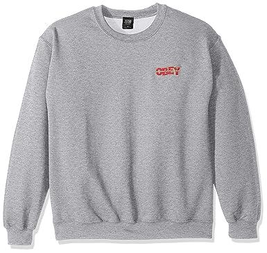 OBEY Men's Box Quake Crew Neck Fleece Sweatshirt, Athletic Heather Grey, ...